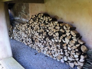 logs stored ready for burning